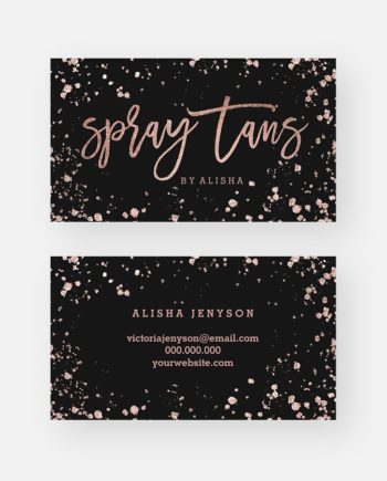 Spray tan makeup script rose gold confetti splatters preview
