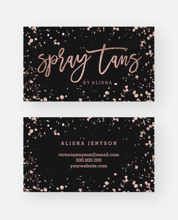 Spray tan makeup script rose gold confetti splatters preview