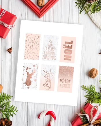 Tags printable Christmas rose gold blush pink white marble collection