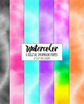 Watercolor 6 digital scrapbook papers preview