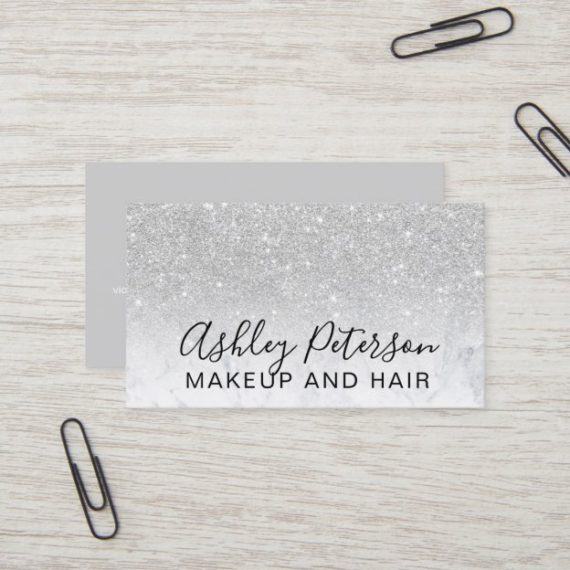 makeup_elegant_typography_marble_silver_glitter_business_card