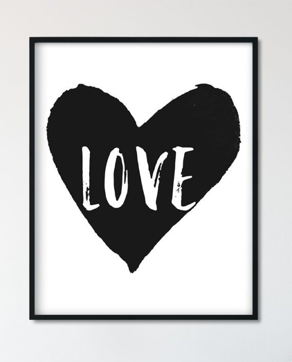 printable black and white watercolor heart love typography preview