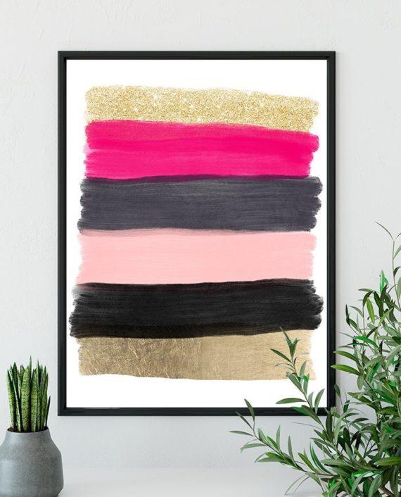 printable modern pink black grey acrylic gold glitter foil brushstrokes