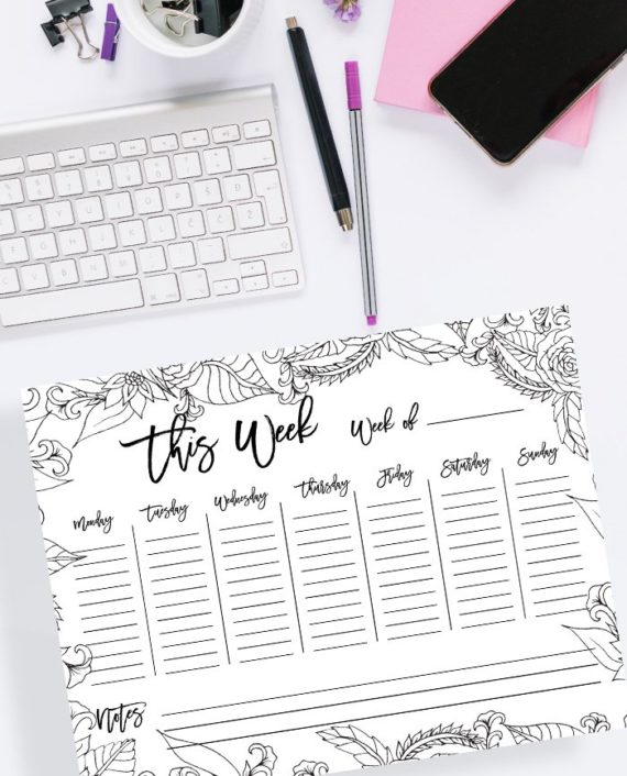 weekly planner floral coloring page