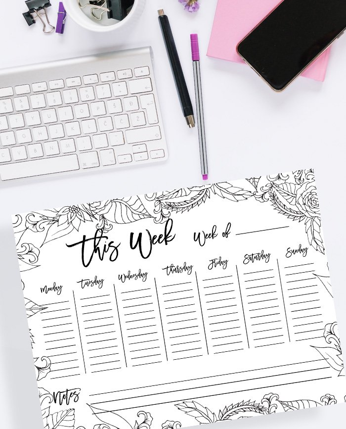 FREE Weekly planner floral coloring page printable instant