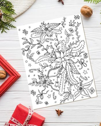 Christmas floral cute adult coloring page preview