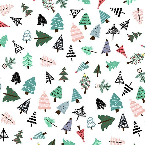 Cute whimsical christmas trees pattern illustration