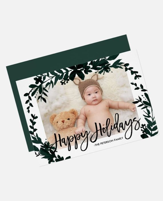 Happy Holidays Christmas green leaf photo card digital download