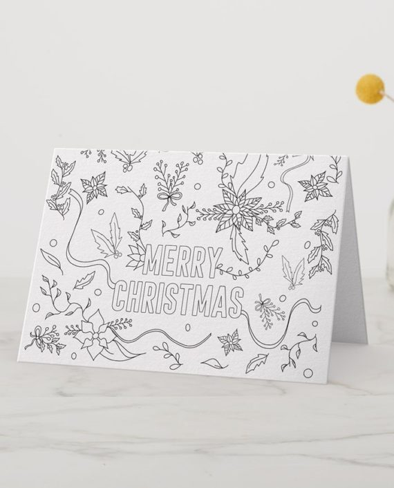 Merry Christmas floral coloring page card preview folded
