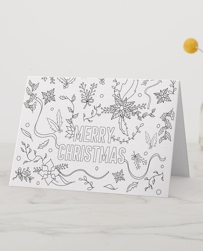 Merry Christmas Floral Coloring Page Greeting Card Instant