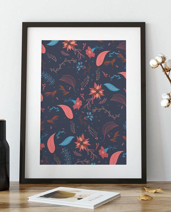 Modern Christmas winter navy blue pink brown floral pattern illustration