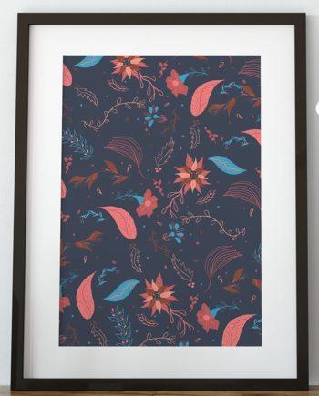 Modern Christmas winter navy blue pink brown floral pattern illustration zoom