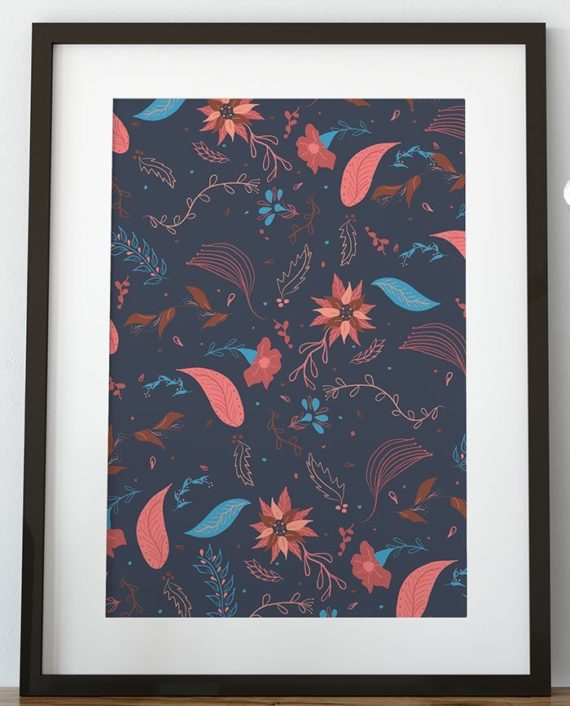 Modern Christmas winter navy blue pink brown floral pattern illustration zoom