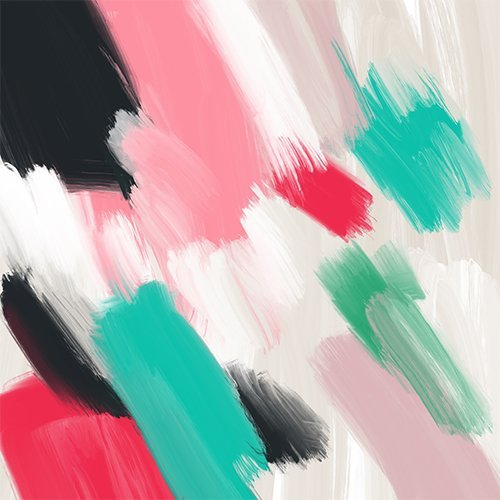 Modern abstract pastel pink turquoise black oil paint brushstrokes