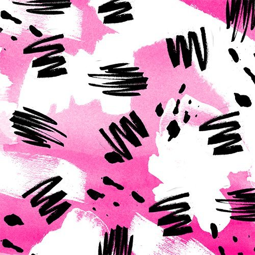 Modern neon pink watercolor white black abstract geometric pattern