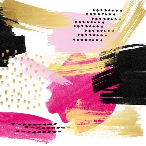 Modern pink black gold abstract geometric shapes brushstrokes pattern