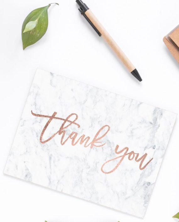 Modern rose gold thank you white marble card