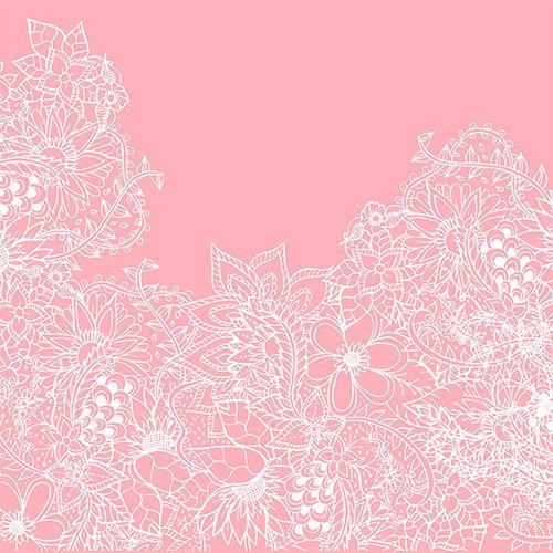 Modern white floral pattern handdrawn illustration on girly pastel pink