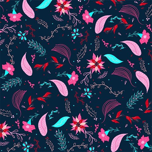 Modern winter bright navy blue pink turquoise teal floral pattern illustration