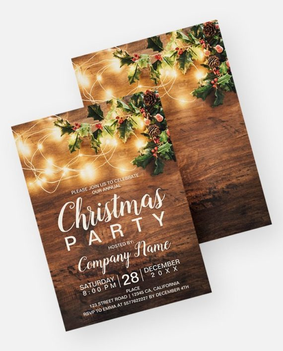 Rustic Christmas country corporate mistletoe light Invitation preview