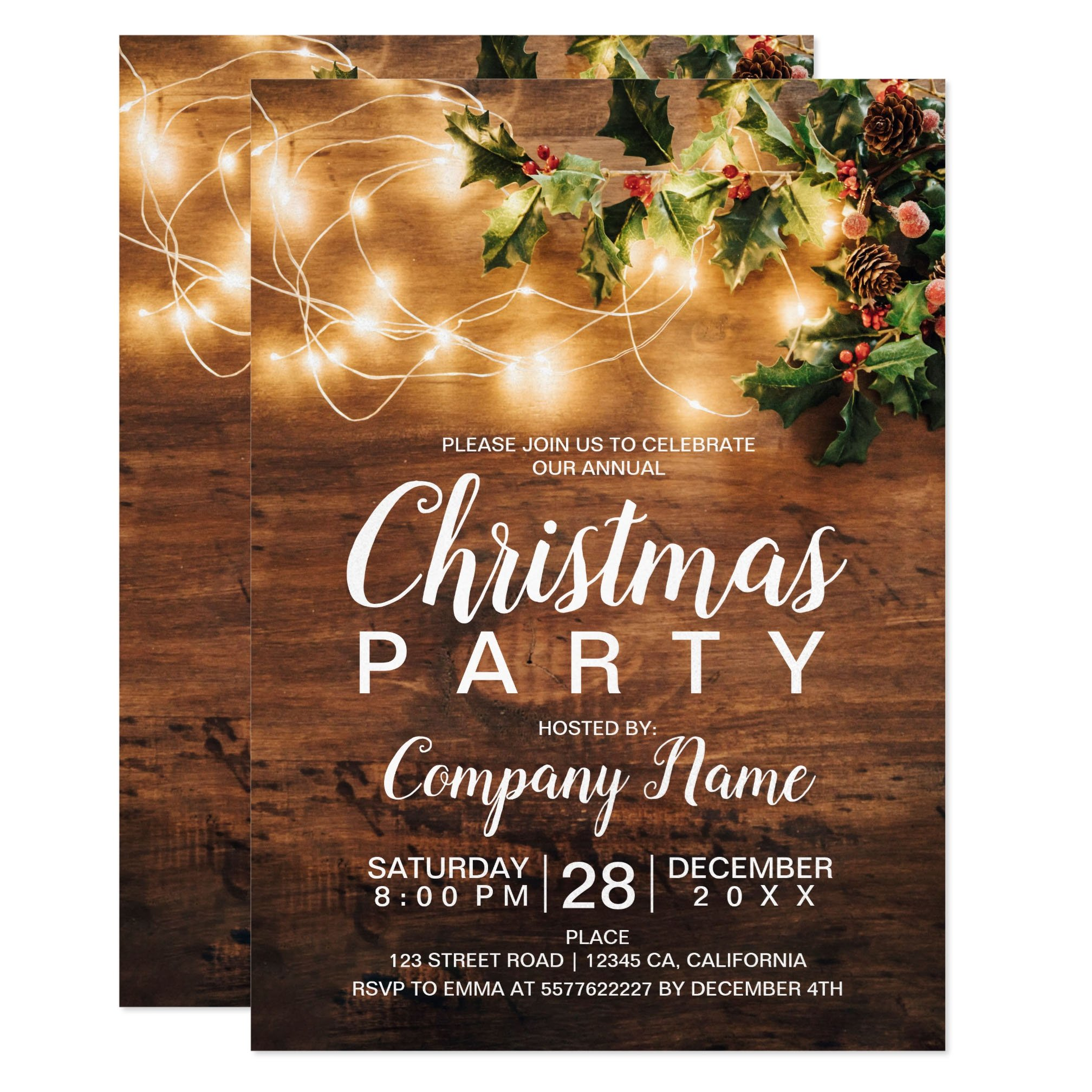Rustic Christmas country corporate mistletoe light Invitation preview zazzle