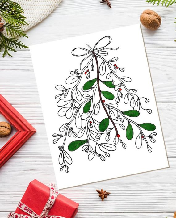 mistletoe Christmas coloring page colored