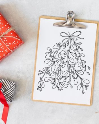 mistletoe Christmas coloring page preview