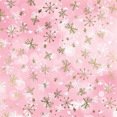 pink watercolor gold white snowflakes christmas pattern