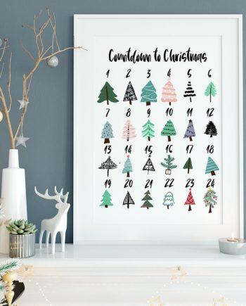 printable countdown to christmas advent calendar christmas trees illustration preview