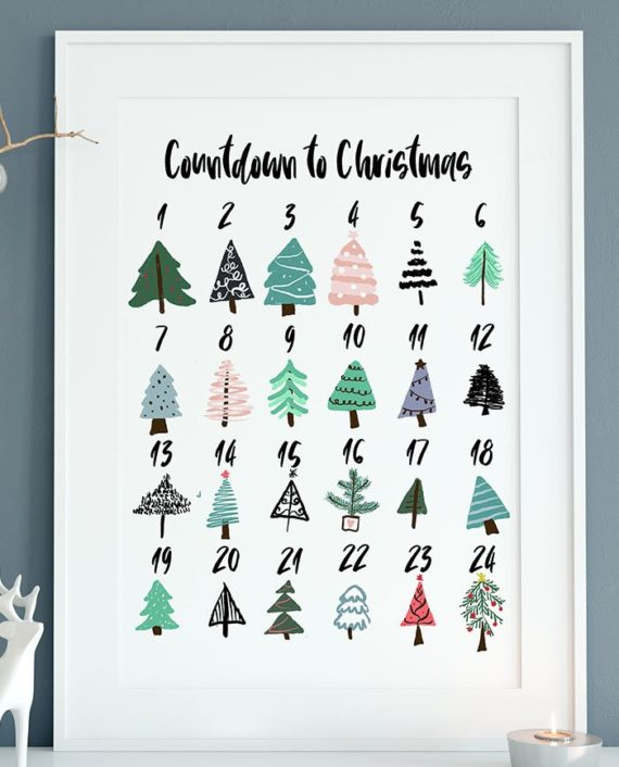 printable countdown to christmas advent calendar christmas trees illustrationzoom