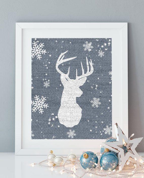 printable Christmas rustic blue grey burlap jute snowflakkes deer head antlers silhouette preview
