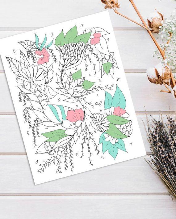 Modern floral illustration adult coloring page instant digital download colored