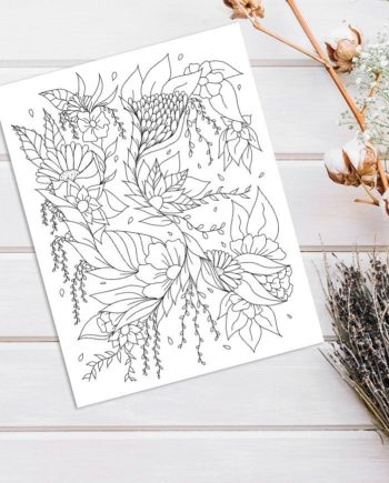 Modern floral illustration adult coloring page instant digital download