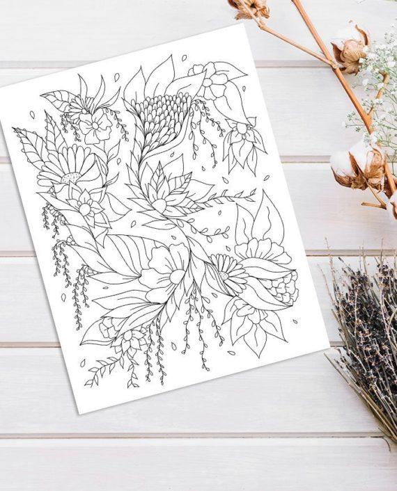 Modern floral illustration adult coloring page instant digital download