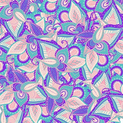 Modern pastel pink purple teal turquoise handdrawn floral paisley pattern