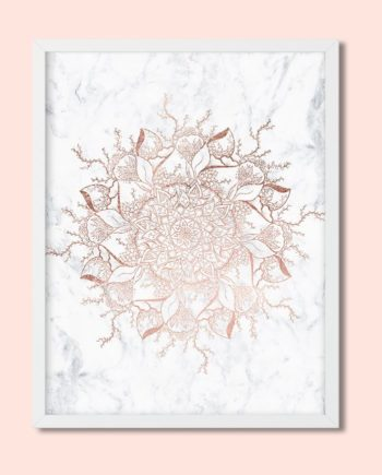 Floral rose gold mandala white marble preview