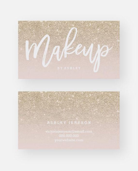 Makeup artist blush typography champagne glitter business card preview
