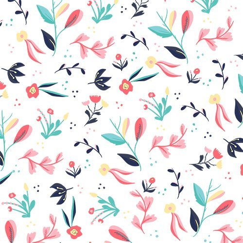 Modern cute tropical pastel pink coral turquoise navy blue floral pattern illustration