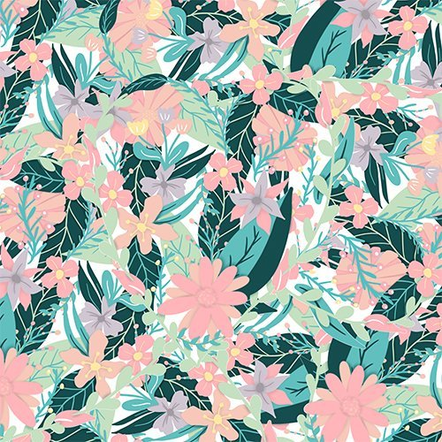 Modern pastel pink coral mint floral cut out illistration pattern