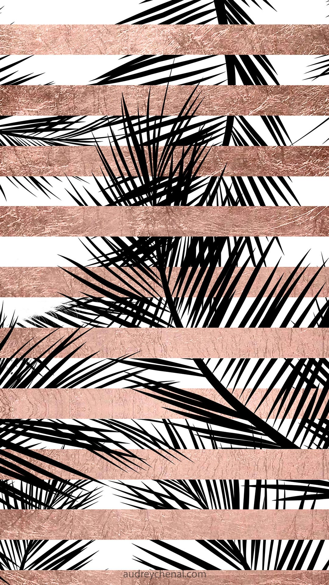Modern rose gold stripes palm tree iphone wallpaper by audreychenal web