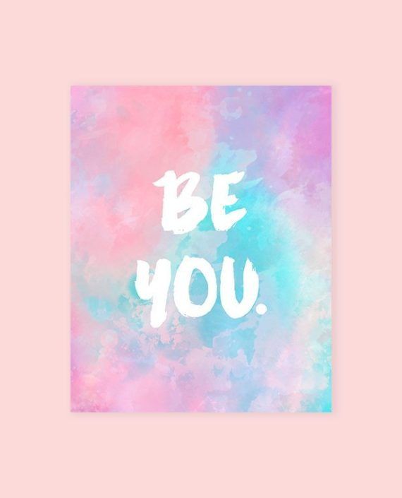 Preview be you typography pastel watercolor by Girly Trend