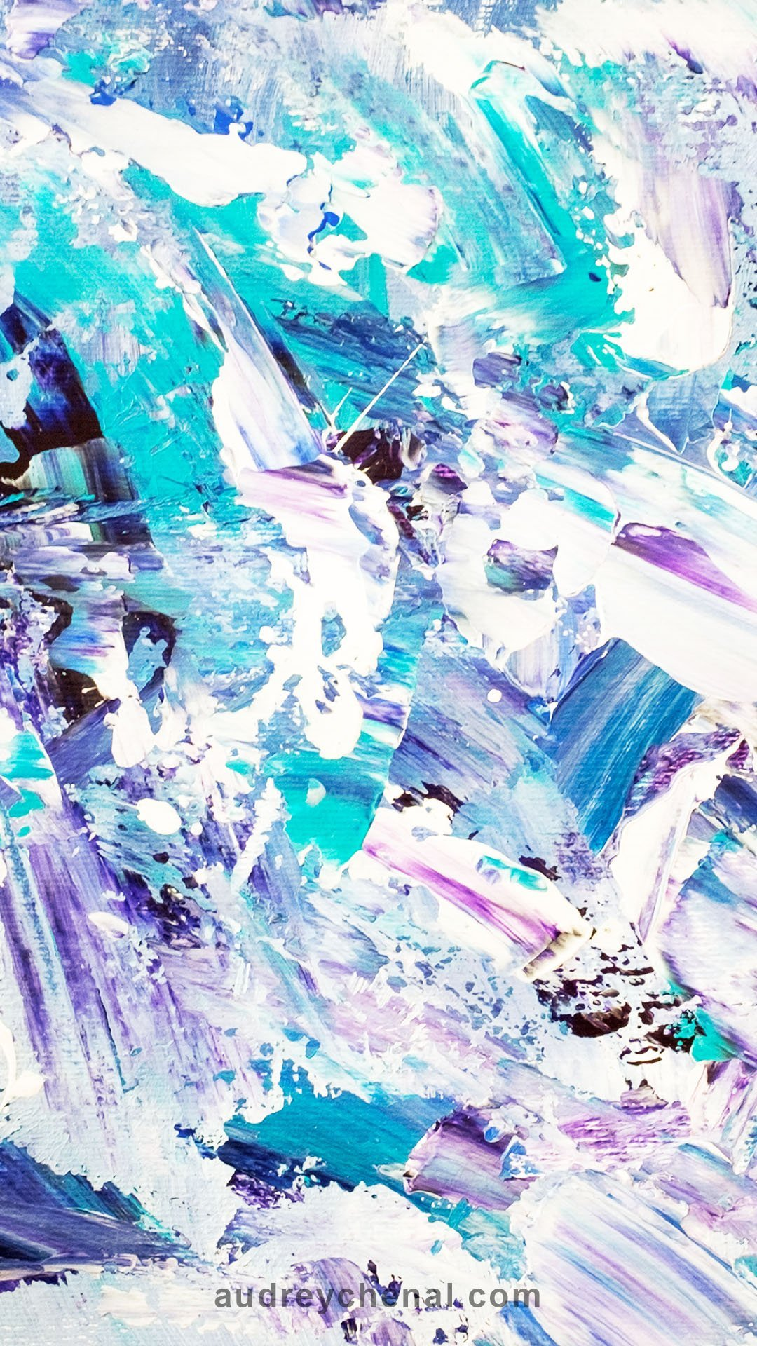 Purple turquoise blue abstract brushstrokes acrylic painting wallpaper by Audrey Chenal