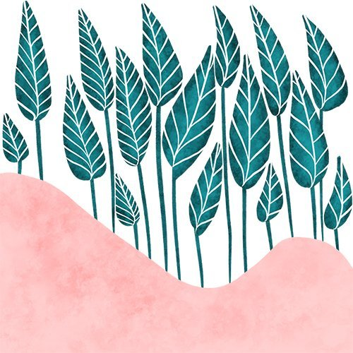 Tropical green leaf watercolor pink mountain