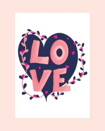 Valentine Love typography pink navy blue heart floral