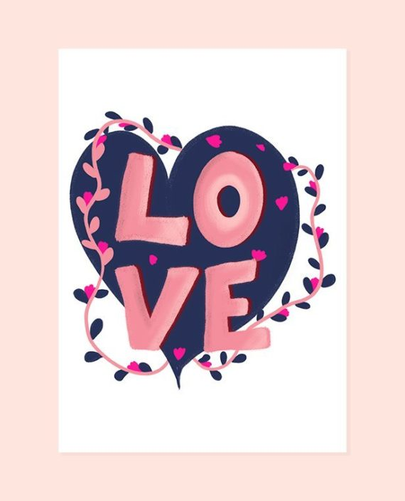 Valentine Love typography pink navy blue heart floral
