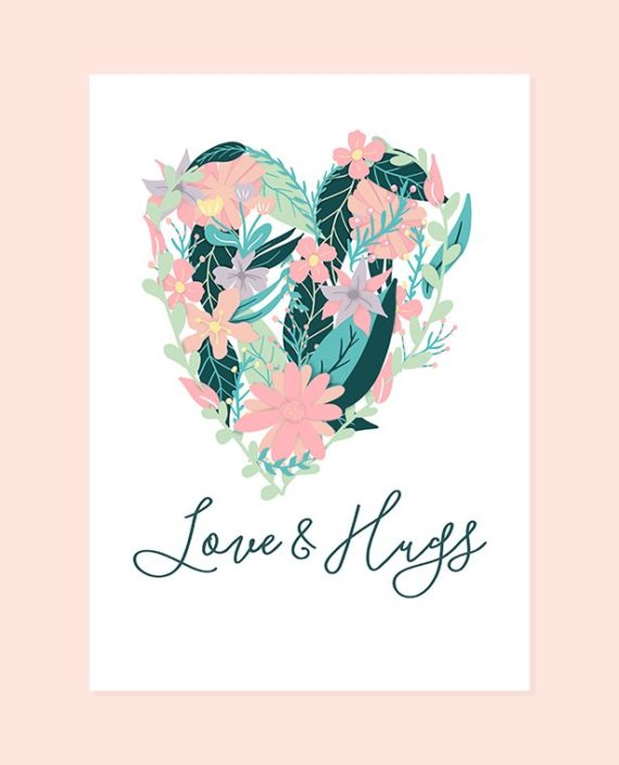 Valentine's printable card Love and Hugs floral heart preview
