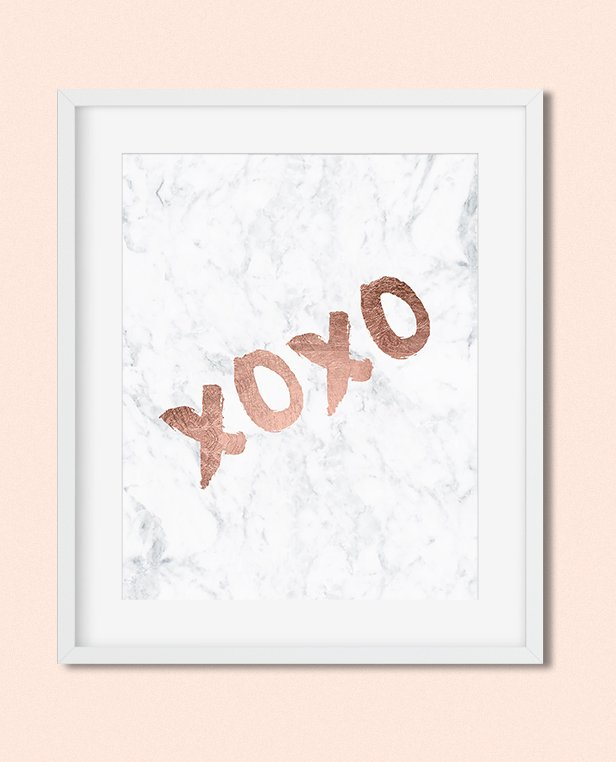 graphic relating to Free Printable Art identify Free of charge printable artwork xoxo rose gold typography white marble