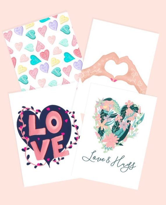 bundles 4 valentines love cards