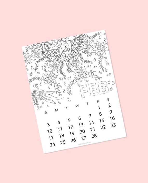 february 2019 coloring page floral
