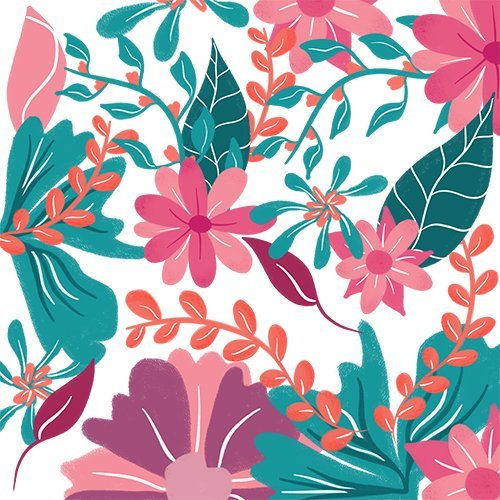 floral tropical pink green